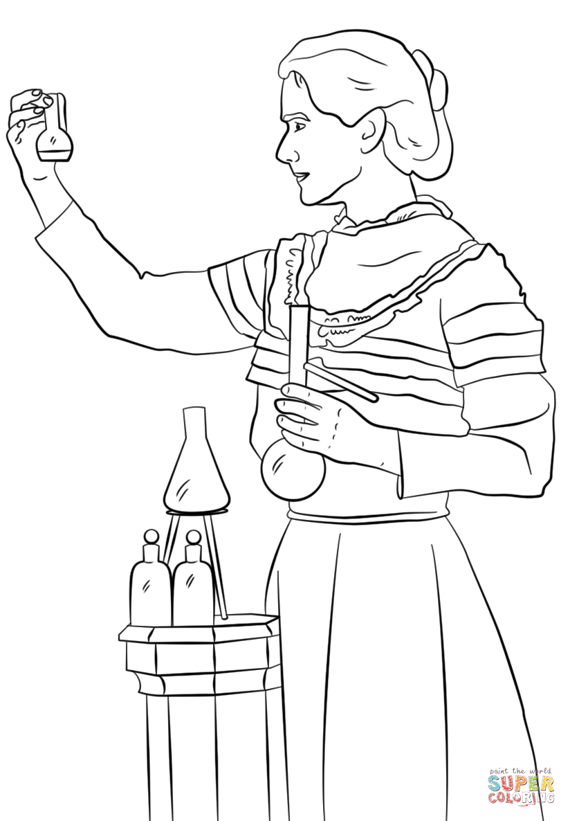 Marie Curie coloring page.