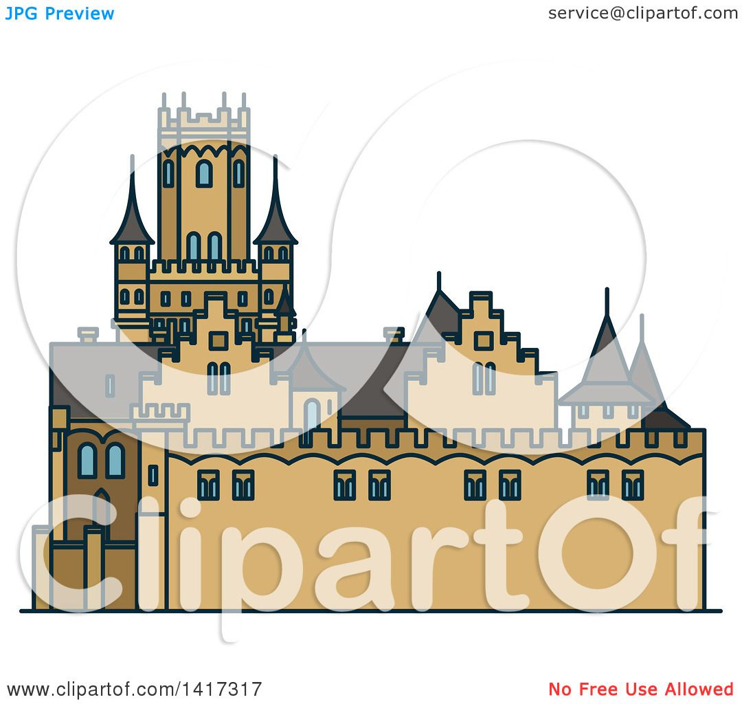 Clipart of a German Landmark, Marienburg Castle.