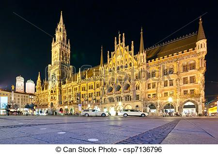 Stock Image of Munich city hall and the Marienplatz square at.