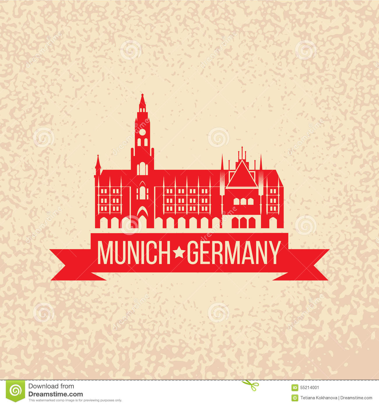 Munich, Germany. Travel Label Illustration Stock Images.