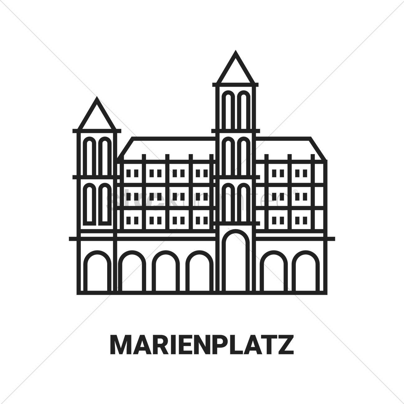 Marienplatz Vector Image.