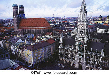 Stock Photography of Evening View over Marienplatz Munich Germany.