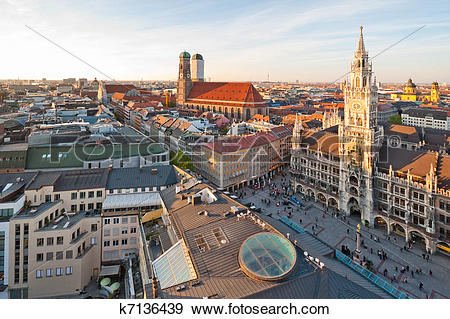 Stock Photograph of Panoramic view at the Marienplatz and the.