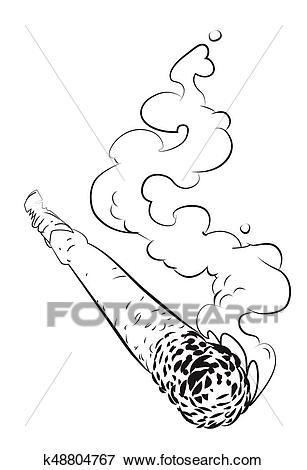 Cartoon image of marijuana joint Clip Art.