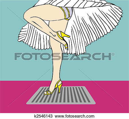 Clipart of Marilyn Monroe legs style with flying dress k2546143.