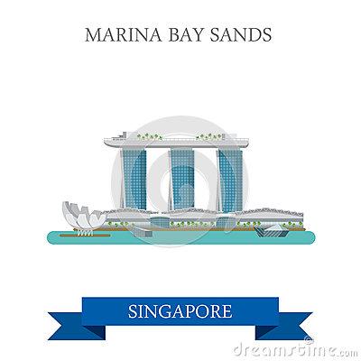 Marina Bay Sands Singapore Vector Flat Attraction Sightseeing.