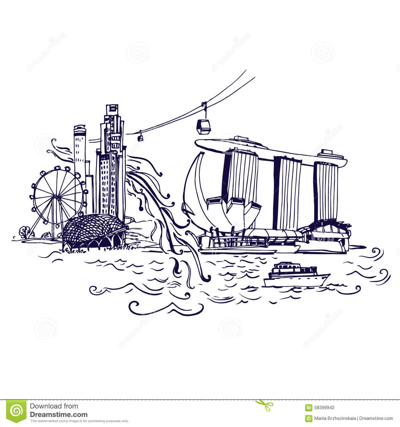 City Skyline Of Marina Bay Singapore Royalty Free Stock Photos.