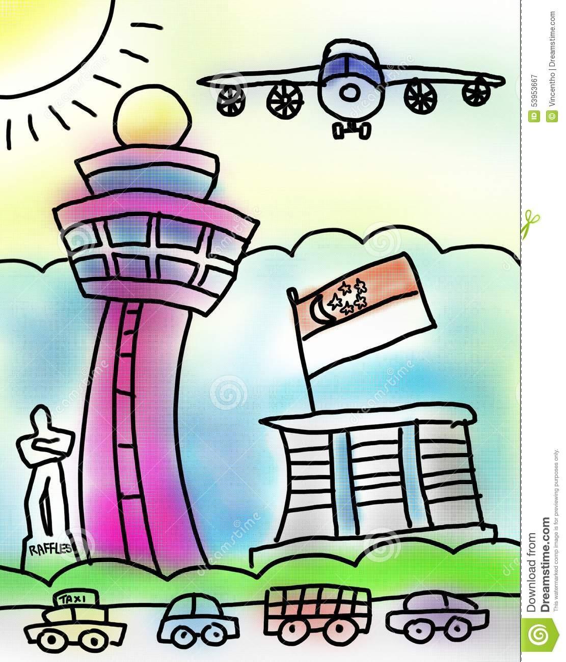 Singapore Airport Raffles Marina Bay Sand Drawing Stock.