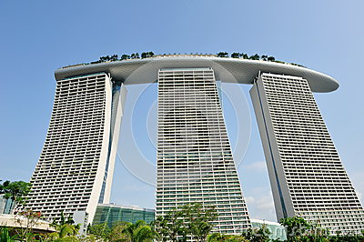 Architectural Design Of Marina Bay Sands Singapore Royalty Free.