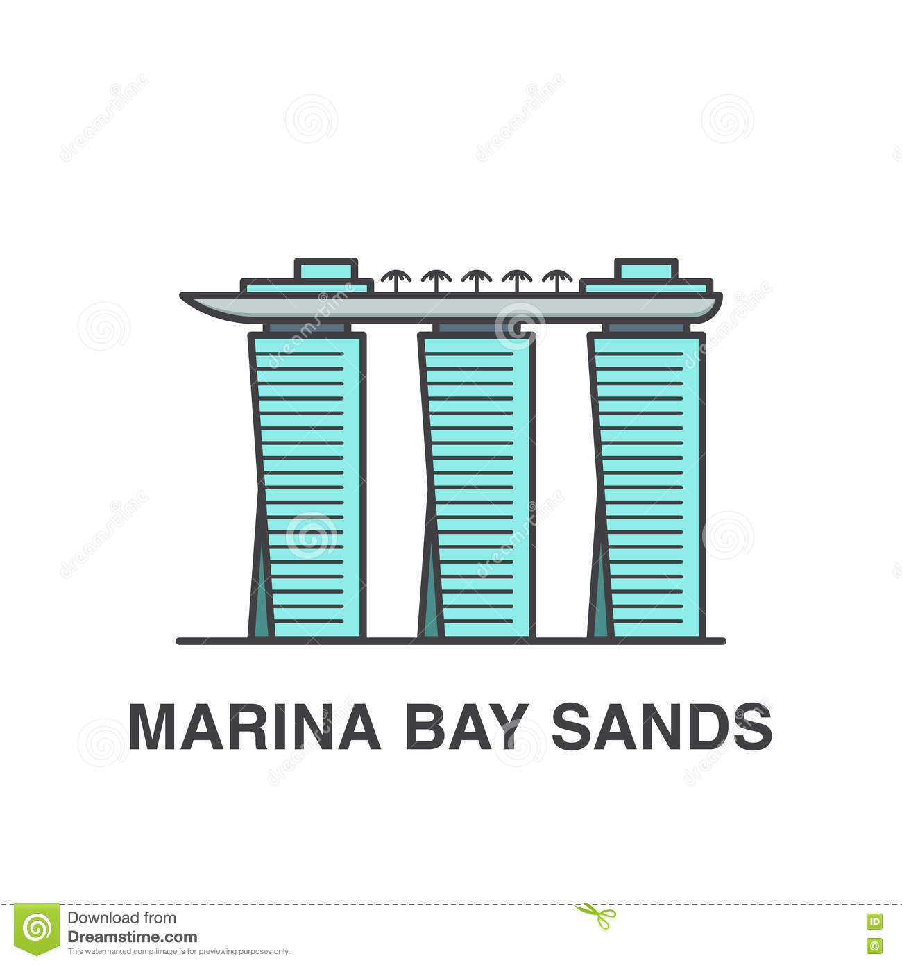 Marina Bay Sands Stock Illustrations.