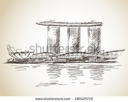 Marina Bay Sands Hotel Singapore Vector Stock Vector 190425719.
