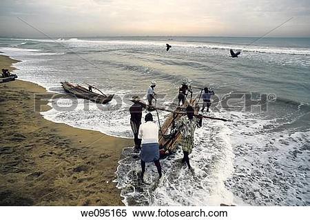 Stock Image of Fishermen at work.