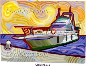 Yacht docked in marina Clip Art.