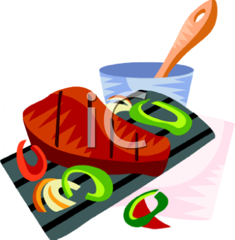 Steak With Bell Peppers Clipart Image.