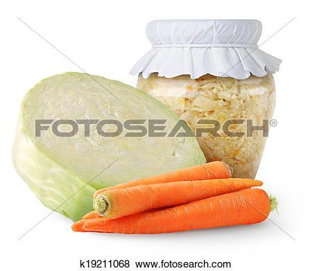 Pictures of Marinated cabbage (sauerkraut) in glass jar k19211068.