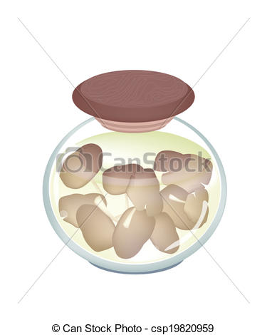 Clipart Vector of A Jar of Delicious Marinated Oyster Mushrooms.