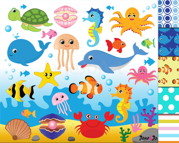 Ocean Animals Clipart,Ocean Theme,Under the Sea Clipart,Digital Paper  Background.