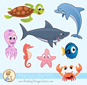Sea Animals Clipart, Underwater Life, Cute Characters, Deep Ocean.