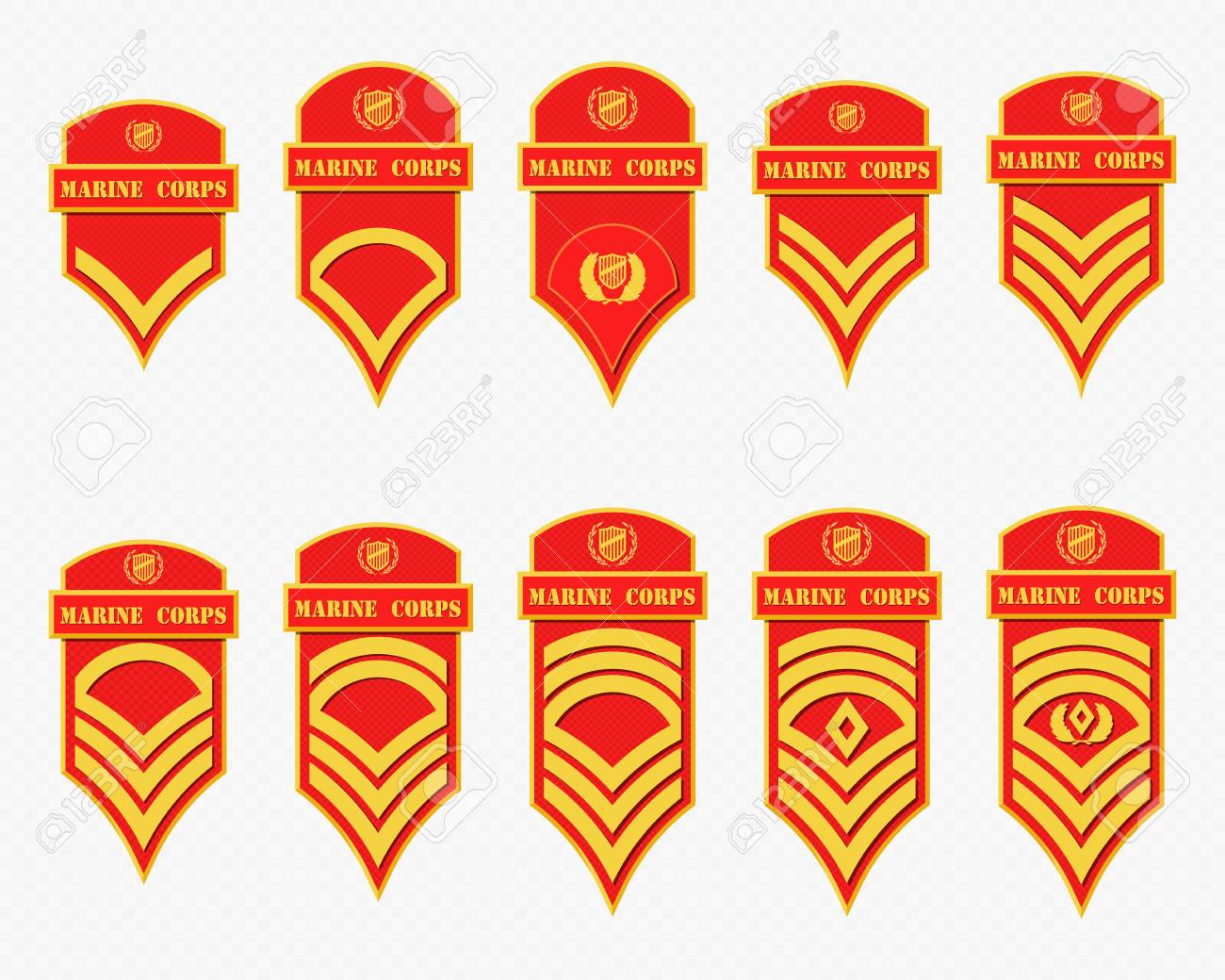 Military Ranks Stripes and Chevrons. Vector Set Army Insignia.