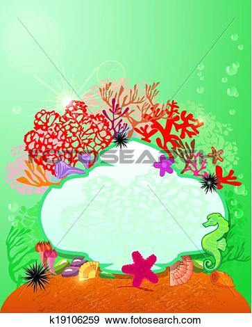 Clipart of Round frame with Coral Reef and Marine life.