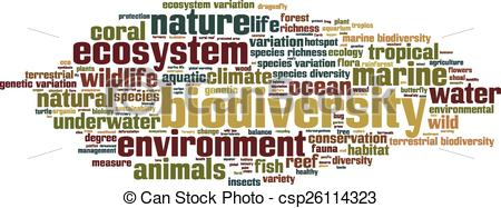 Vector Clip Art of Biodiversity word cloud concept. Vector.