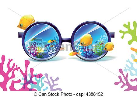 Clipart Vector of coral reef in sunglasses on a white background.