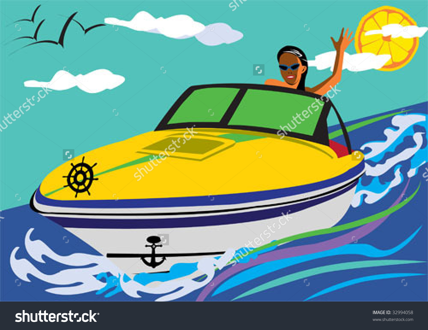 Girl Driving Motorboat Smiling Swaying As Stock Vector 32994058.