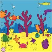 Drawings of Diver in coral reef k25190224.