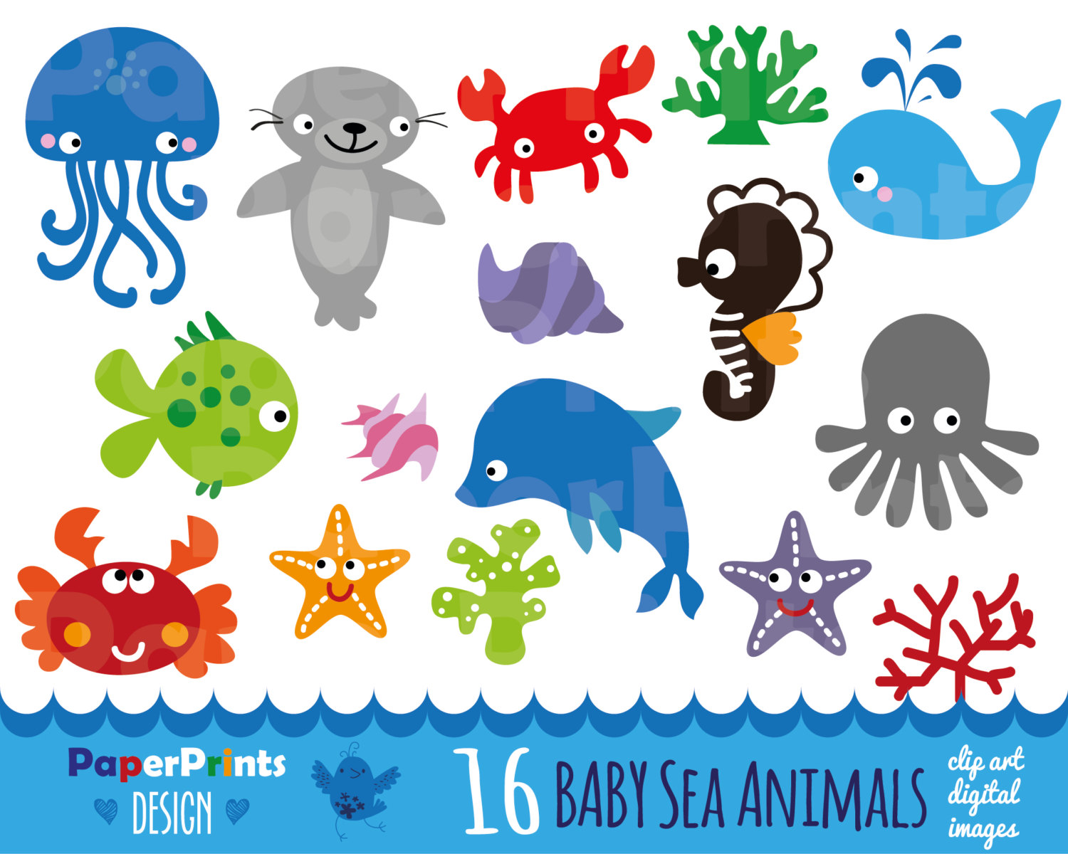 Marine animals clipart.