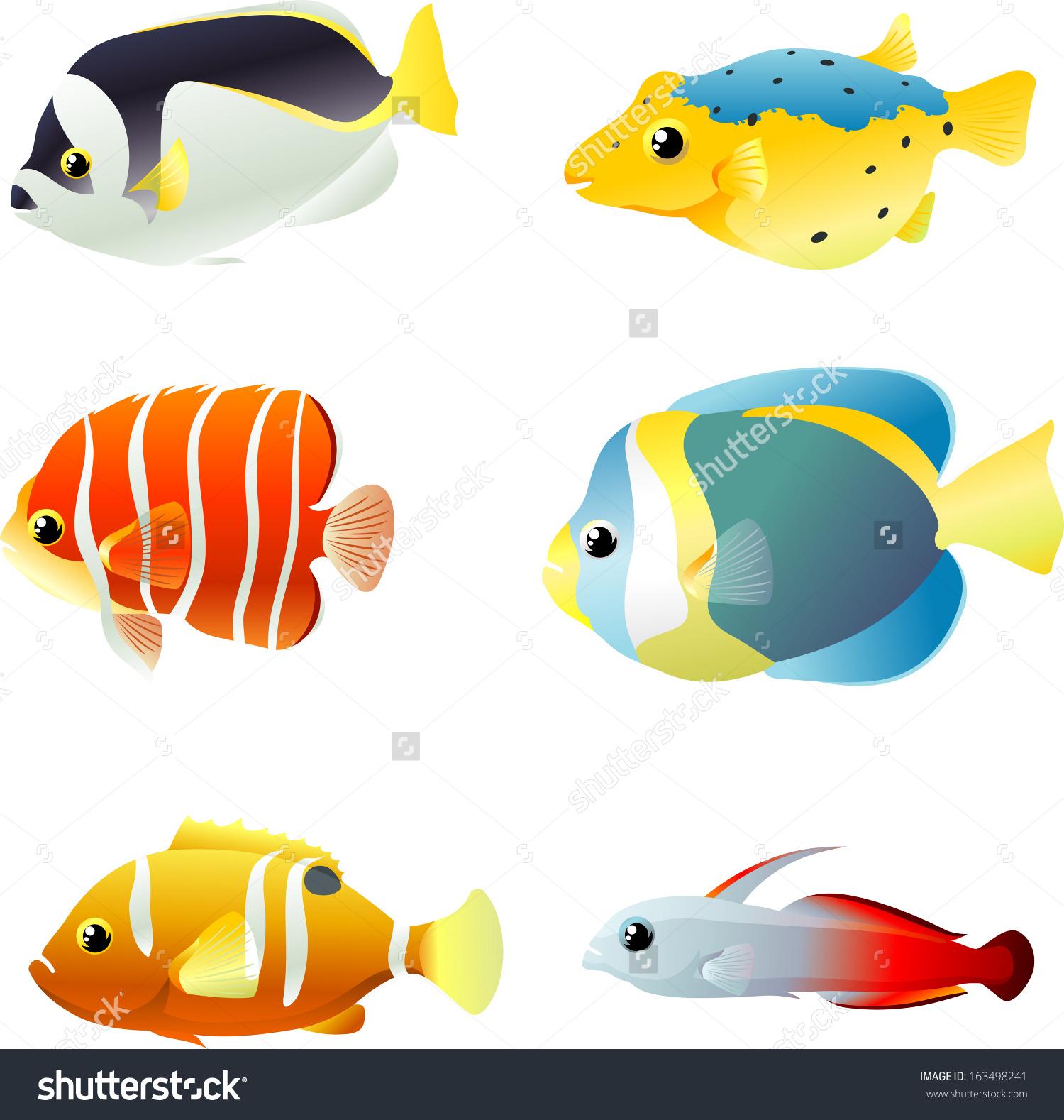 Colorful Marine Fish Set Stock Vector Illustration 163498241.