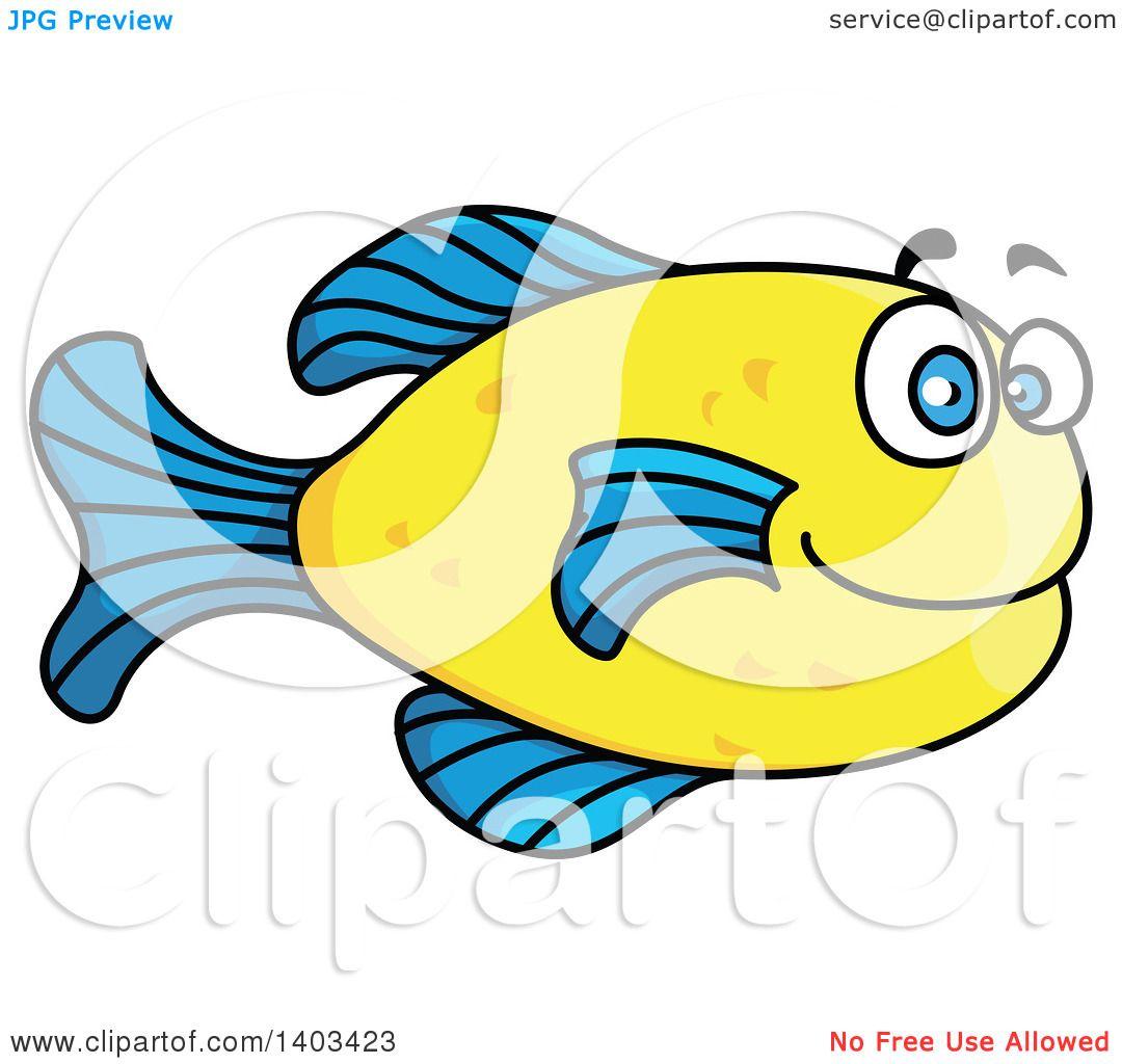 Clipart of a Cartoon Marine Fish.