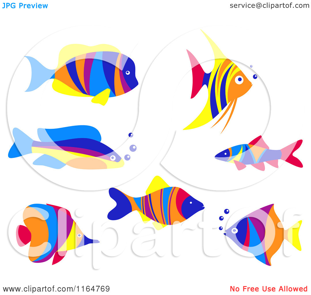 Clipart of Colorful Marine Fish.