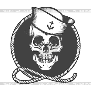 Skull in Sailor Hat on Marine Rope Loop Emblem.