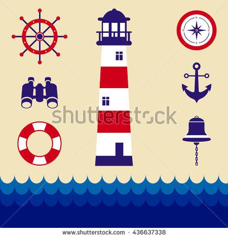 Cartoon Marine Icons Stock Vector 437118034.