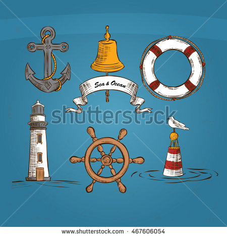 Illustration Icons Offshore Anchor Lighthouse Life Stock Vector.
