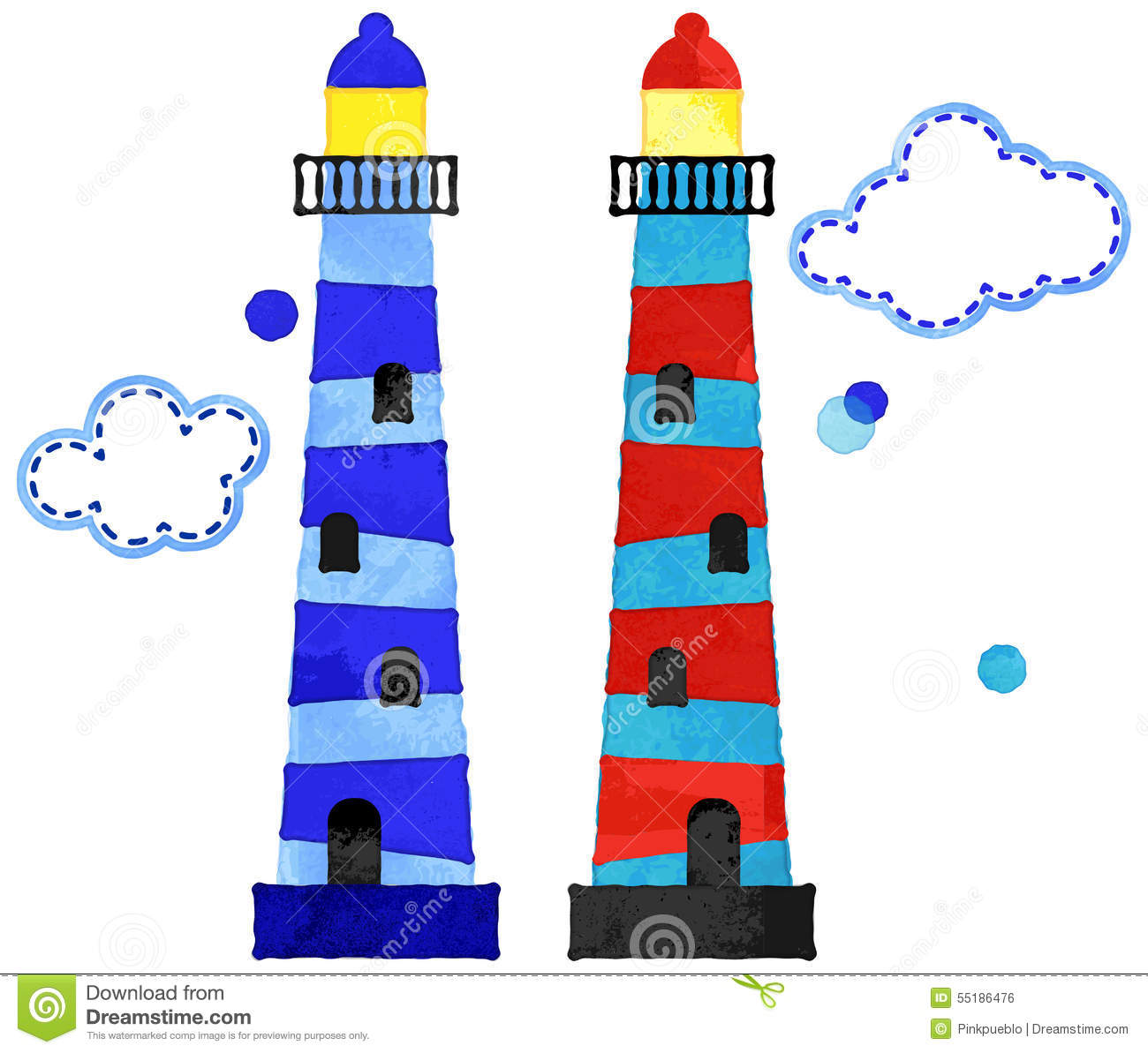 Vector Watercolor Style Nautical Lighthouses And Clouds Stock.