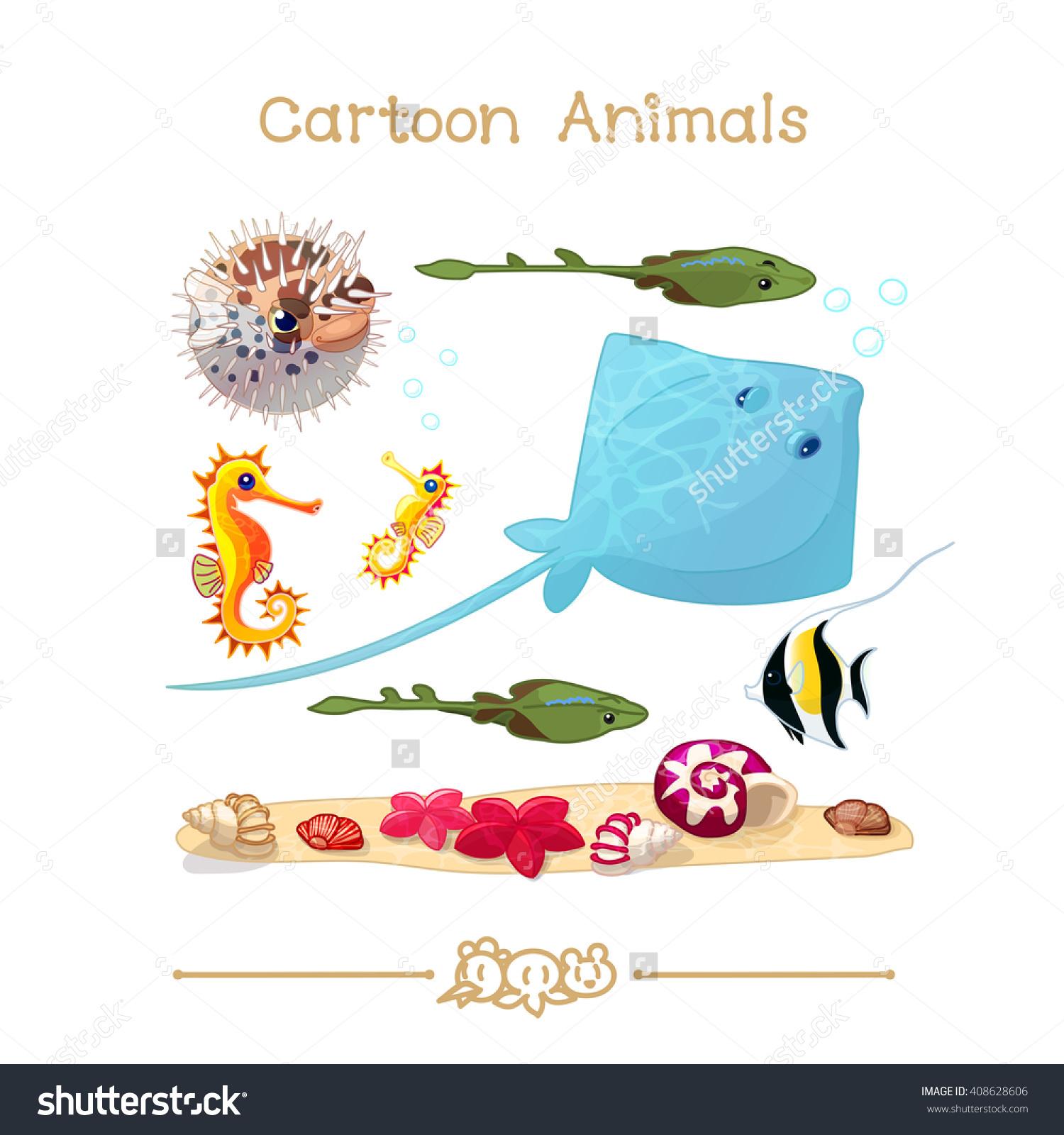 Vector Pic Series Cartoon Animals Amusing Stock Vector 408628606.