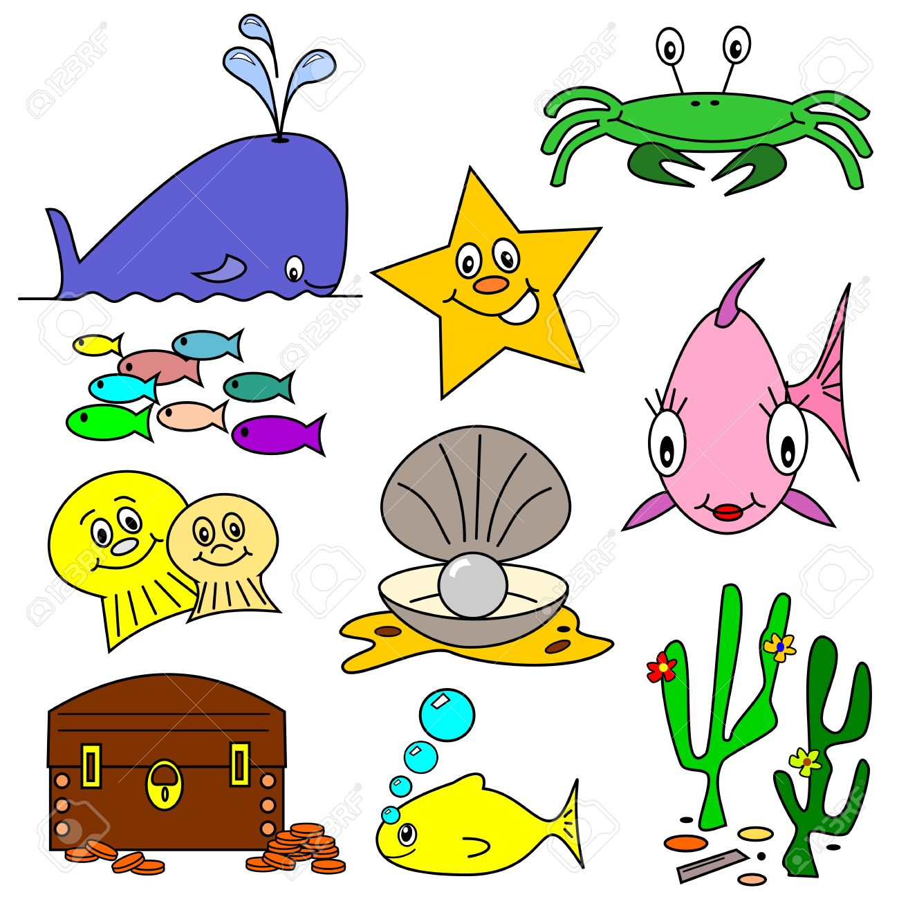 Selection Of Sea Life Clip Art Cartoons On A White Background.