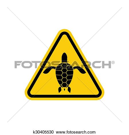 Clipart of Yellow sign attention water turtle. Marine reptile on.