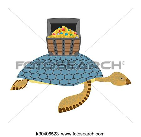 Clipart of Water Turtle and treasure chest. Marine reptiles are.