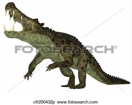 Stock Illustration of Kaprosuchus marine reptile. cfr200432p.