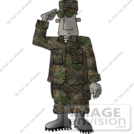 African American Marine Military Soldier Saluting Clipart.