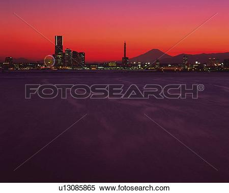 Stock Image of Sakuragicho, the Marine Tower and Mt. Fuji and the.