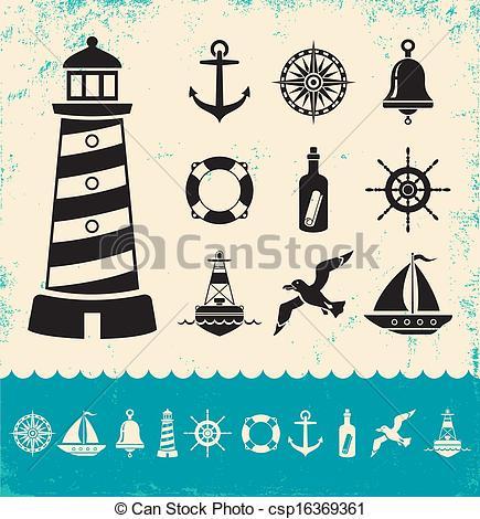 Clip Art Vector of Marine symbols.