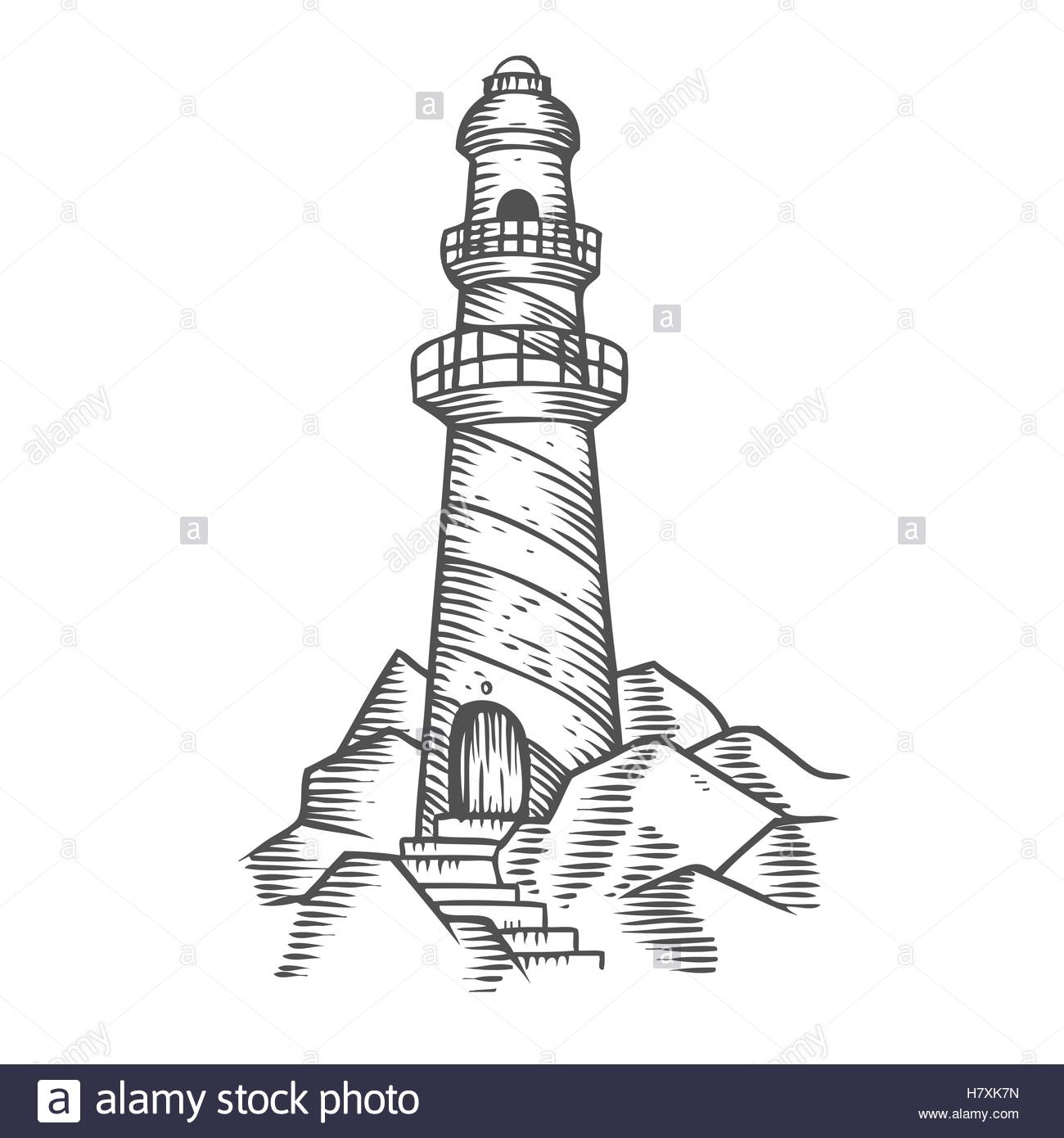 Lighthouse Tower On The Rocks, Hand Drawn Engraving Sketch Vector.