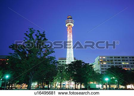 Stock Photography of Yokohama Marine Tower, Japan u16495681.