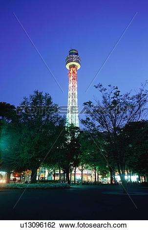 Stock Photo of Yokohama Marine Tower at Night, Japan u13096162.