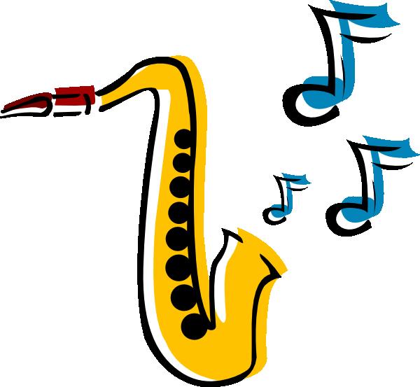 Santa playing saxophone clipart.