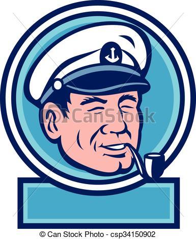 Vector Clipart of Sea Captain Smoking Pipe Circle Retro.