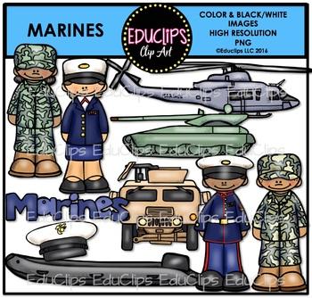 Marines Clip Art Bundle {Educlips Clipart}.